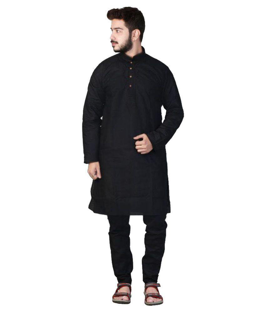 Generation Next Black Cotton Kurta Pyjama Set