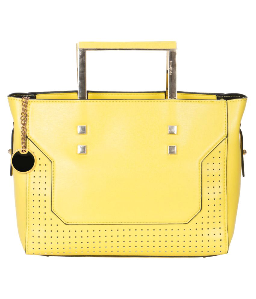 Crawler Yellow Faux Leather Satchel Bag