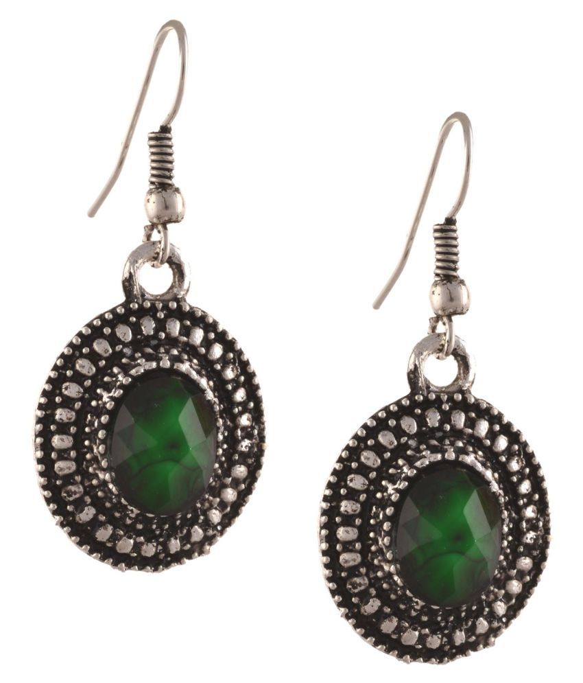 Zephyrr Green Alloy Hanging Earrings