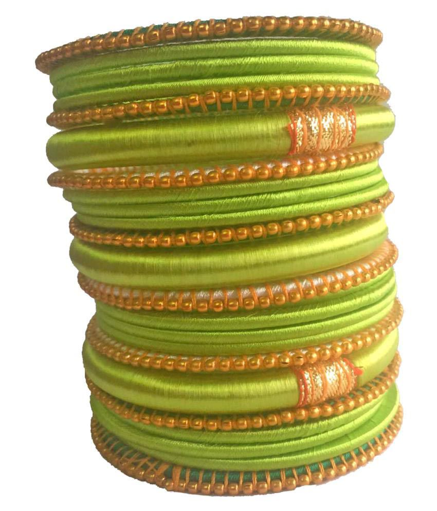 Kuhuk Multi Color Silk Thread Plastic Bangle Set
