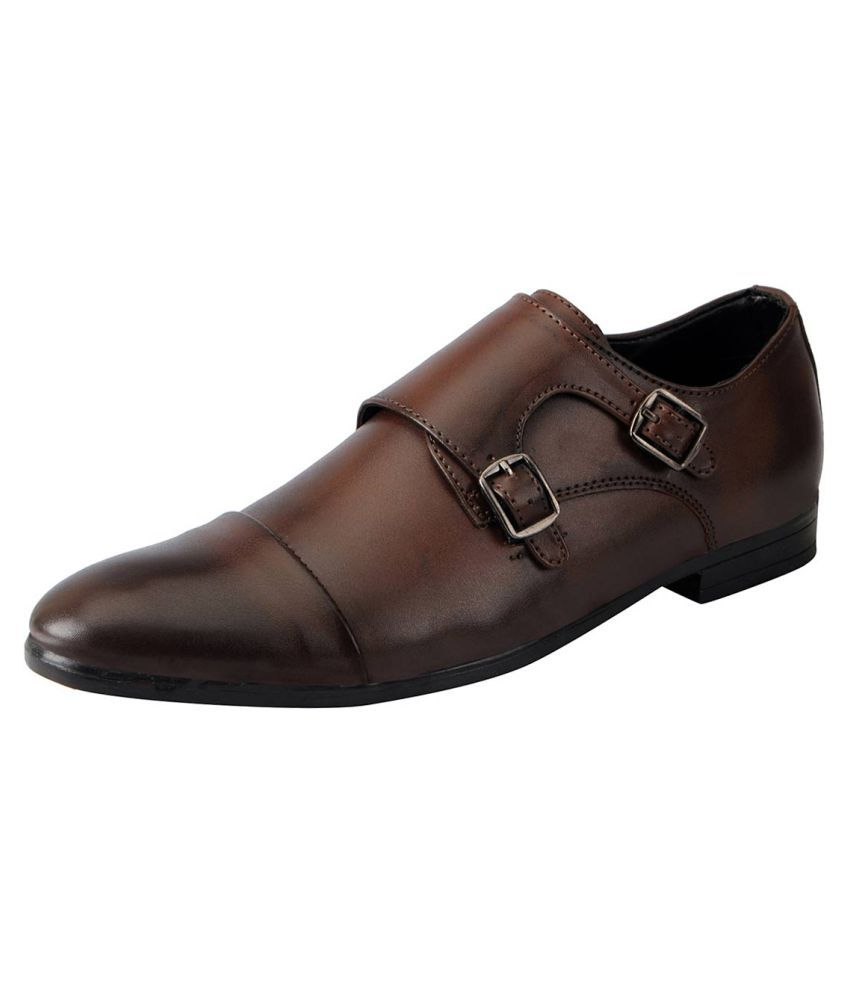 Fausto Brown Monk Strap Non-leather Formal Shoes