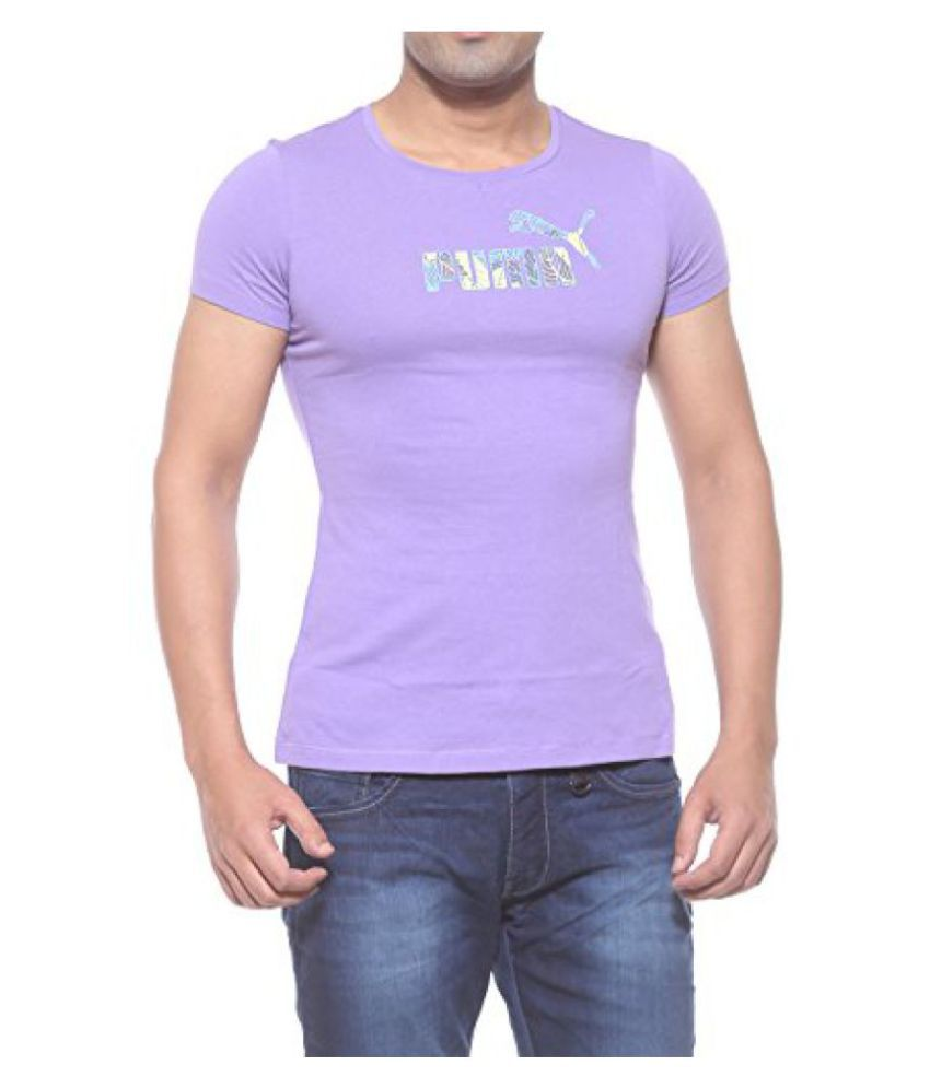 Puma Purple Round Neck Large Logo Tee(83080011_Purple_Medium)