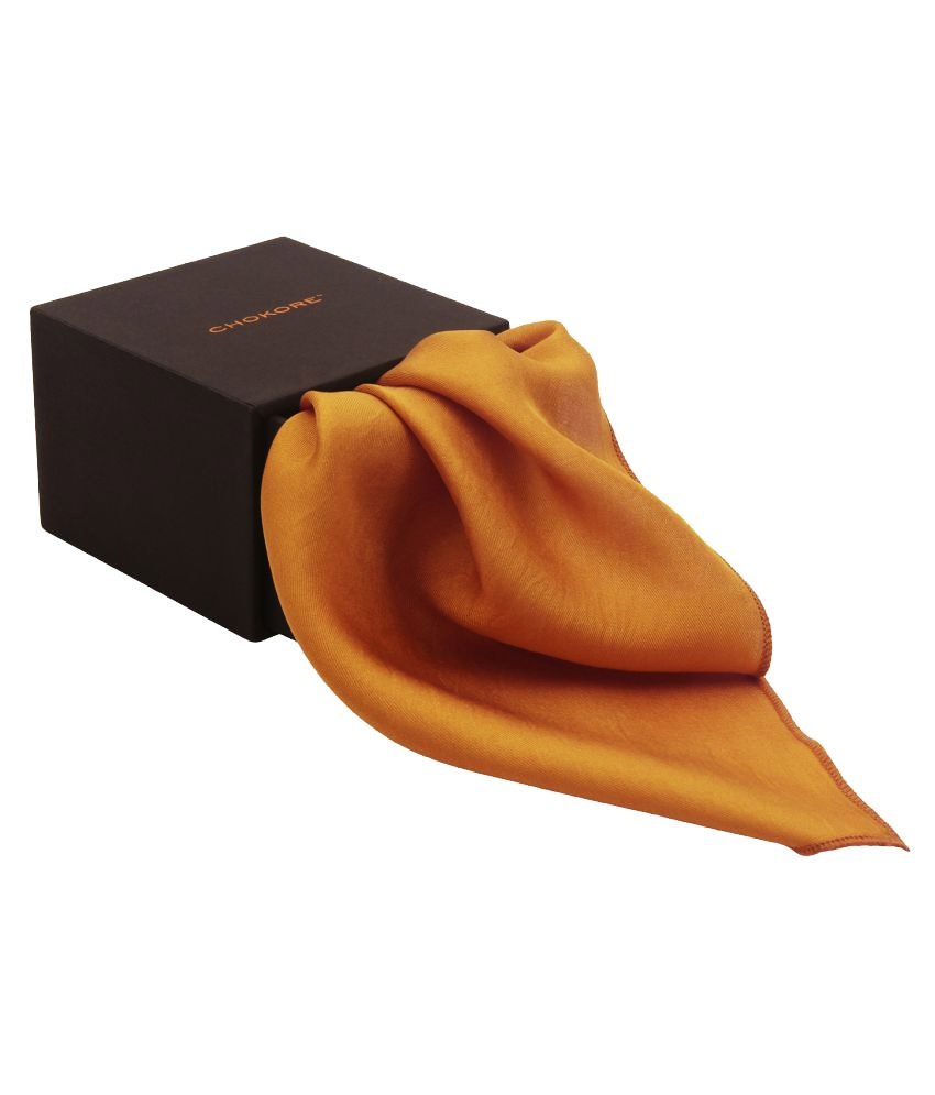 Chokore Orange Pure Silk Pocket Square