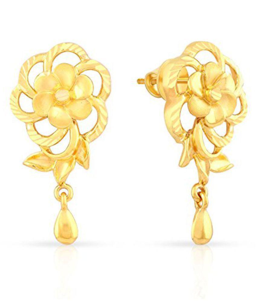 Malabar Gold & Diamonds 22k (916) Yellow Gold Drop Earrings