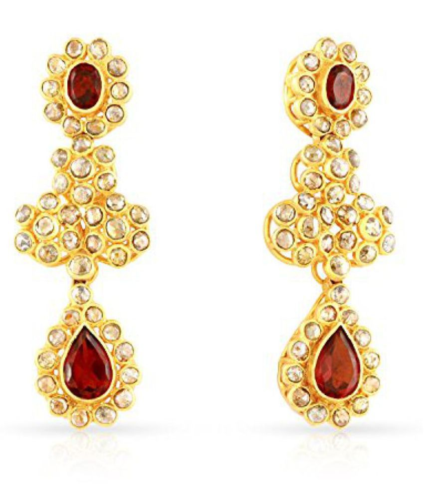 Malabar Gold and Diamonds Era Collection 22k (916) Yellow Gold and Crystal Drop Earrings
