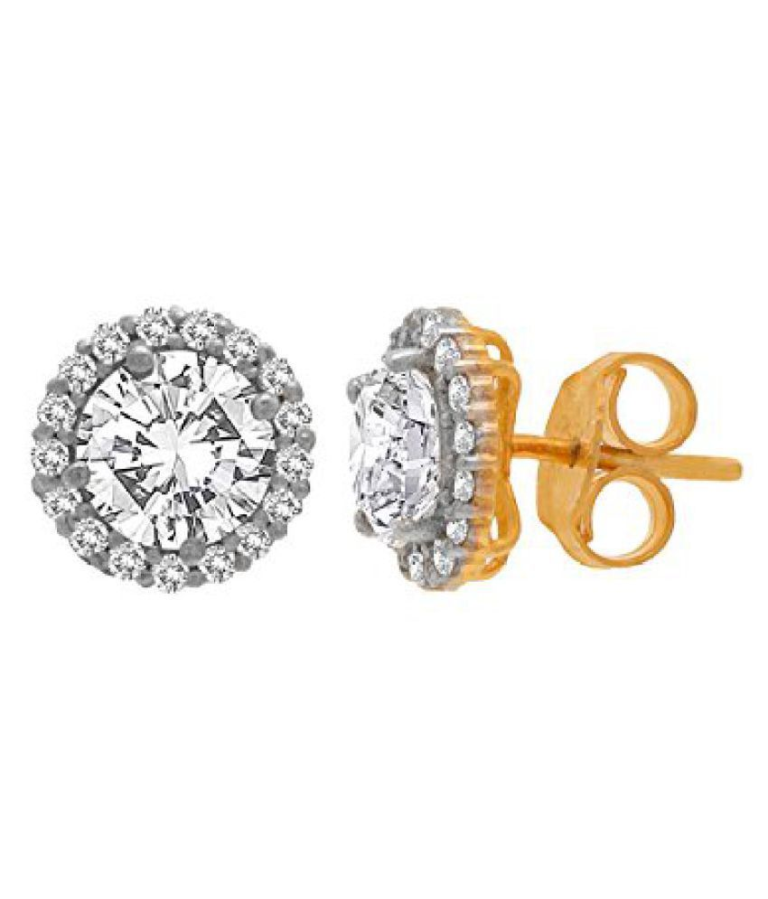 Voylla Fashionable Sterling Silver Studs In Gold Plating Made With Swarovski Zirconia