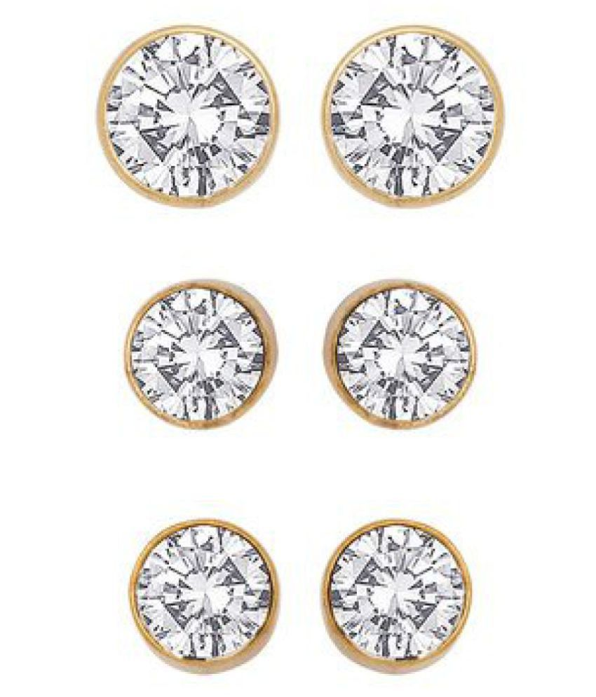 Voylla Set Of 3 Pairs Of Stud Earrings