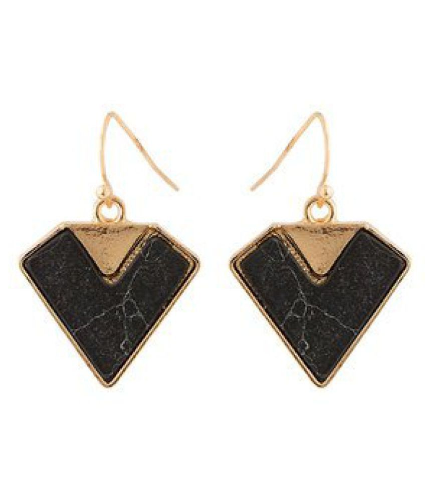 Voylla Stylish Drop Earrings With Black Turquoise
