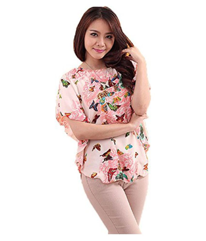 crawler creation Womens Top (Pink Butterfly_Pink_Large)
