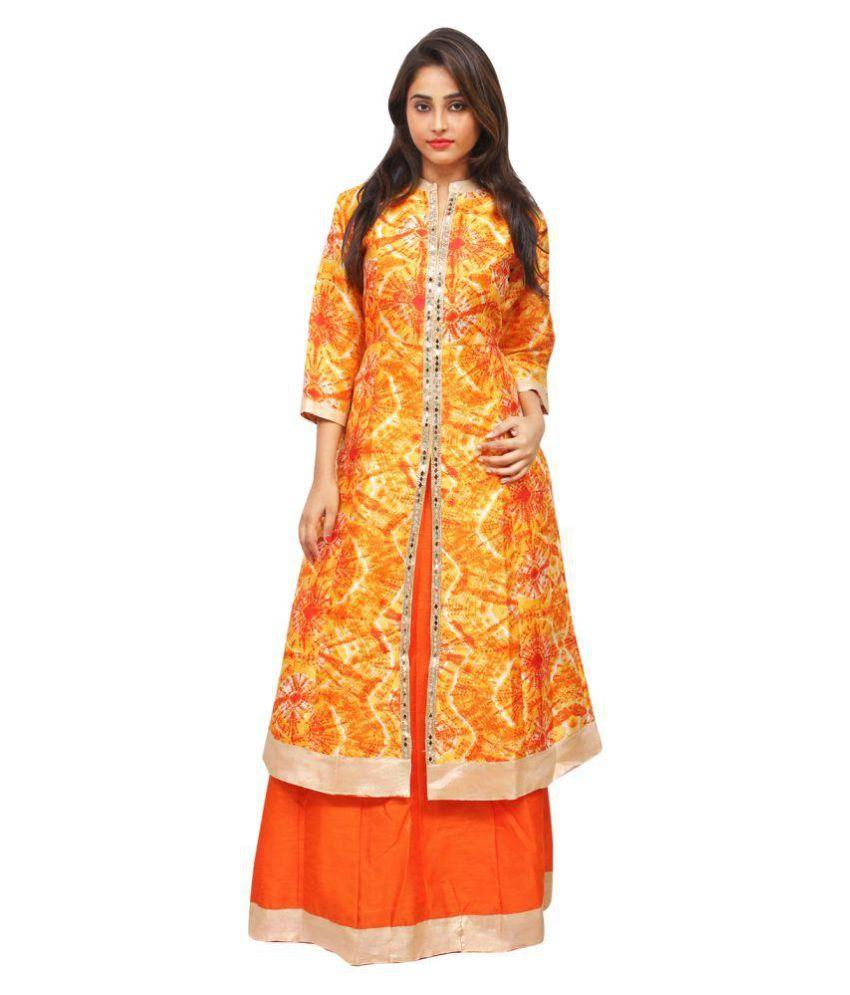 olizo Orange Bhagalpuri Silk Straight Stitched Suit