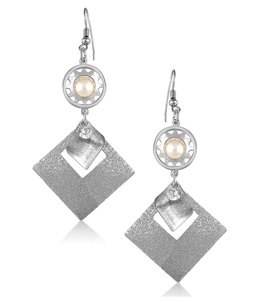 VK Jewels Silver Rhodium Plated Alloy Hanging Earrings