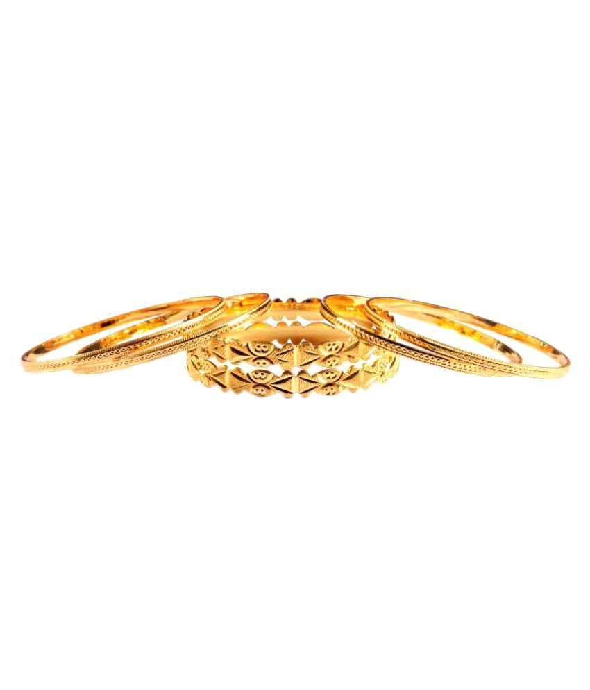 Luxor Set Of 6 Cut-Work Gold Plated Bangles