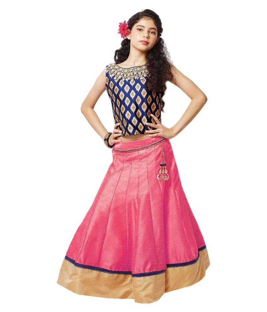 ba15057eed Active Banglori Silk Printed Kids Lehenga Choli For Girl ( Pink_Navy Blue)  - Buy Active Banglori Silk Printed Kids Lehenga Choli For Girl ( Pink_Navy  Blue) ...