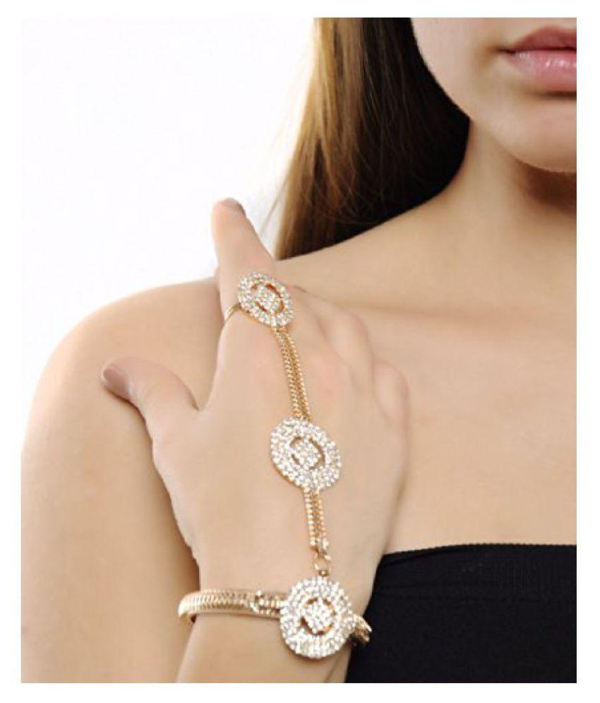 Shining Diva Metal Gold Strand Ring Cum Bracelet For Women/Girls