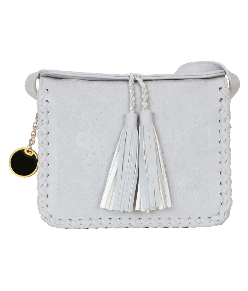 Smerize Gray Faux Leather Sling Bag