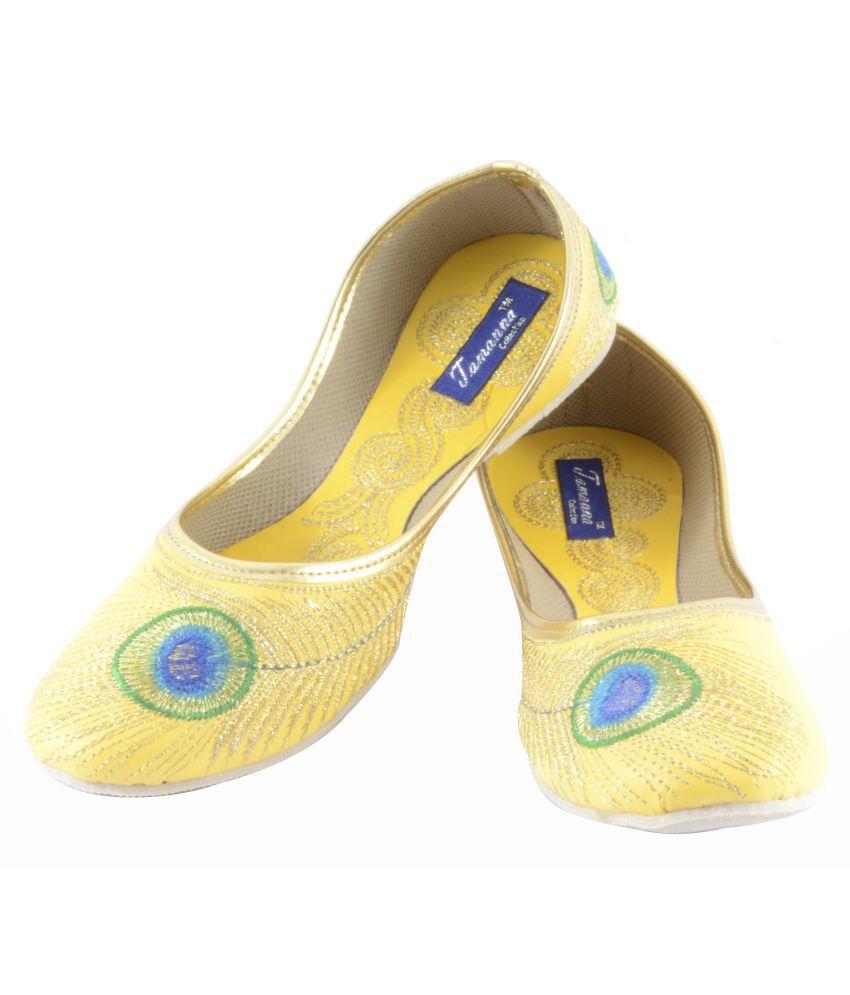 Tamanna Yellow Flat Ethnic Footwear