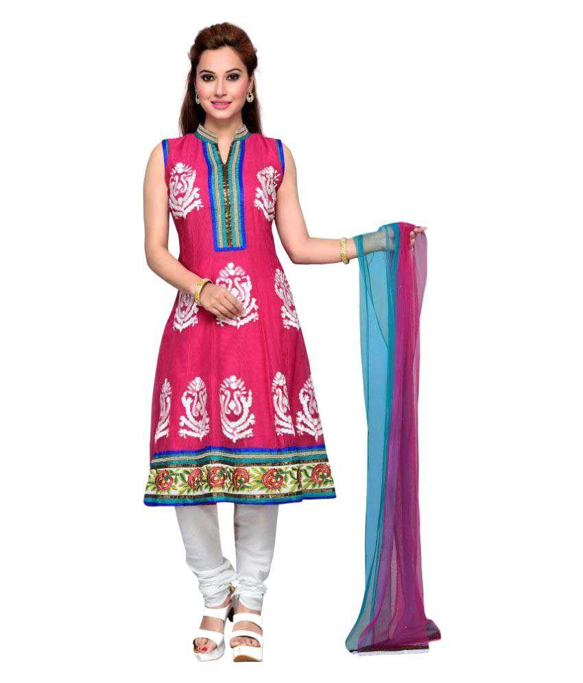 Krusha Art Pink Net A-line Stitched Suit