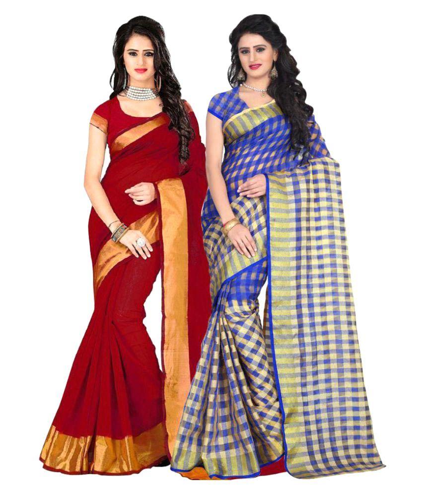 Pramukh Suppliers Multicoloured Cotton Saree Combos