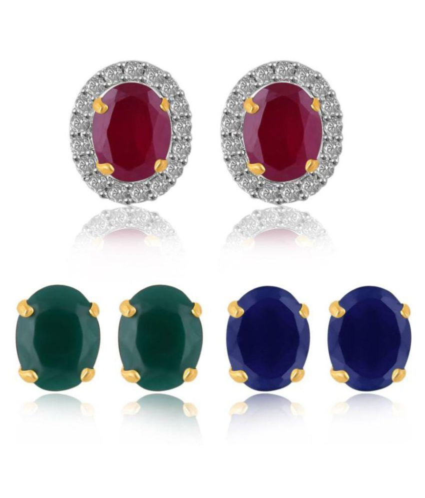 Jewels Gold Multicolor Studs Earring Set For Woman Pair of 3
