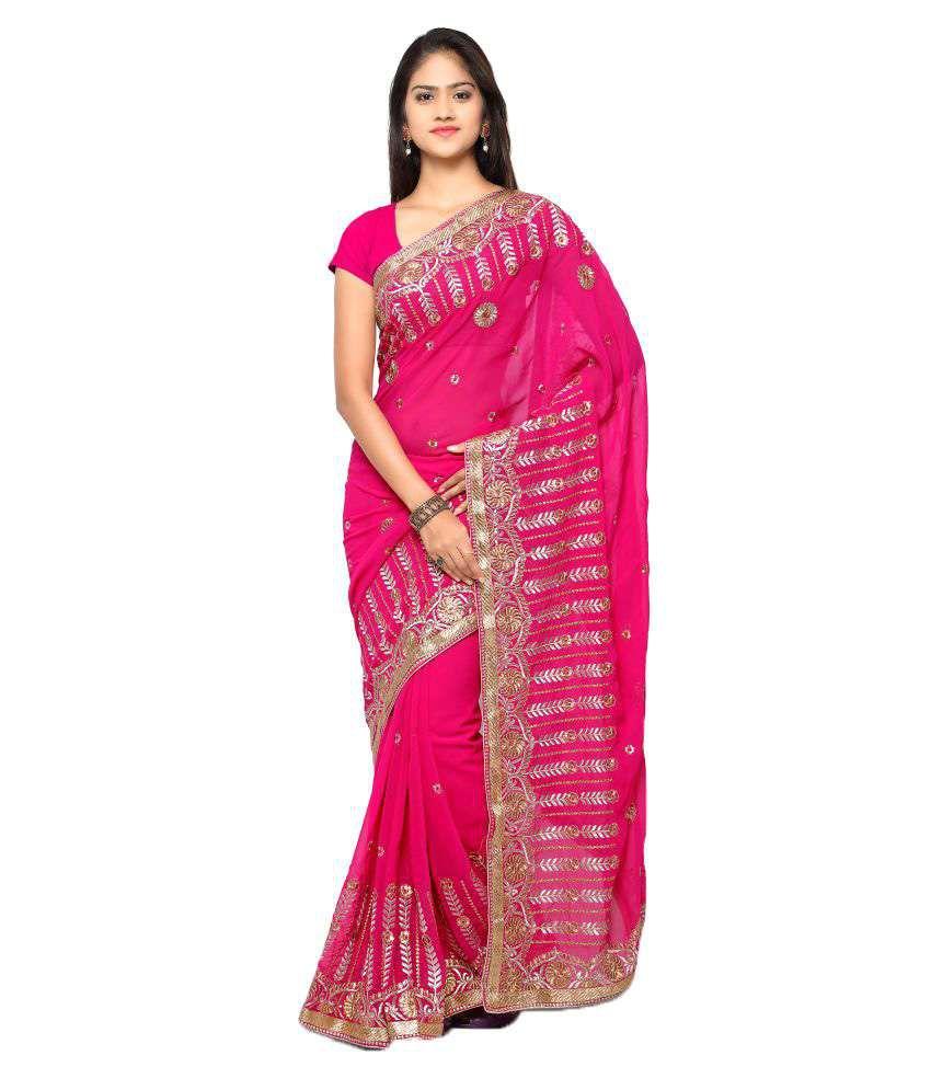 Vkaran Pink Chiffon Saree
