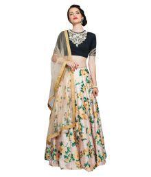 Greenvilla Designs Multicoloured Bangalore Silk Unstitched Semi Stitched Lehenga