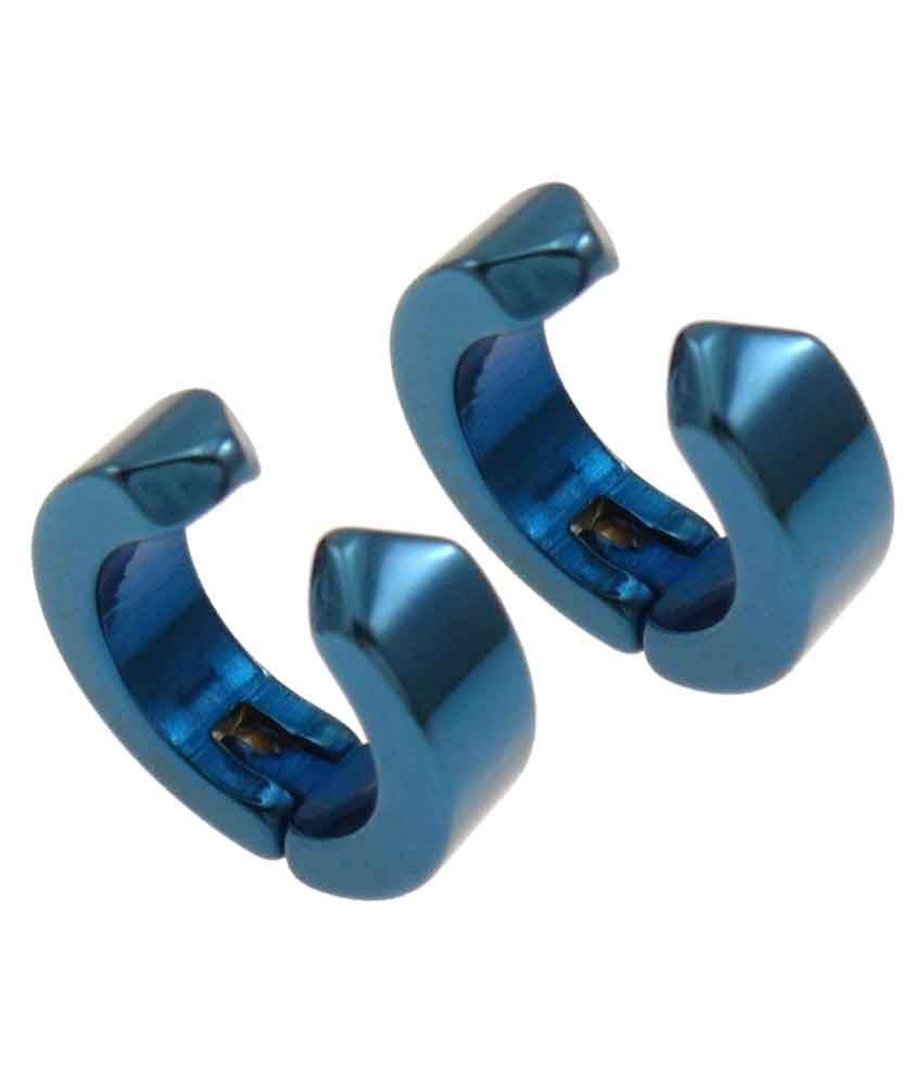 Carrydreams Blue Stainless Steel Hoop Earrings For Non-Pierced Ear