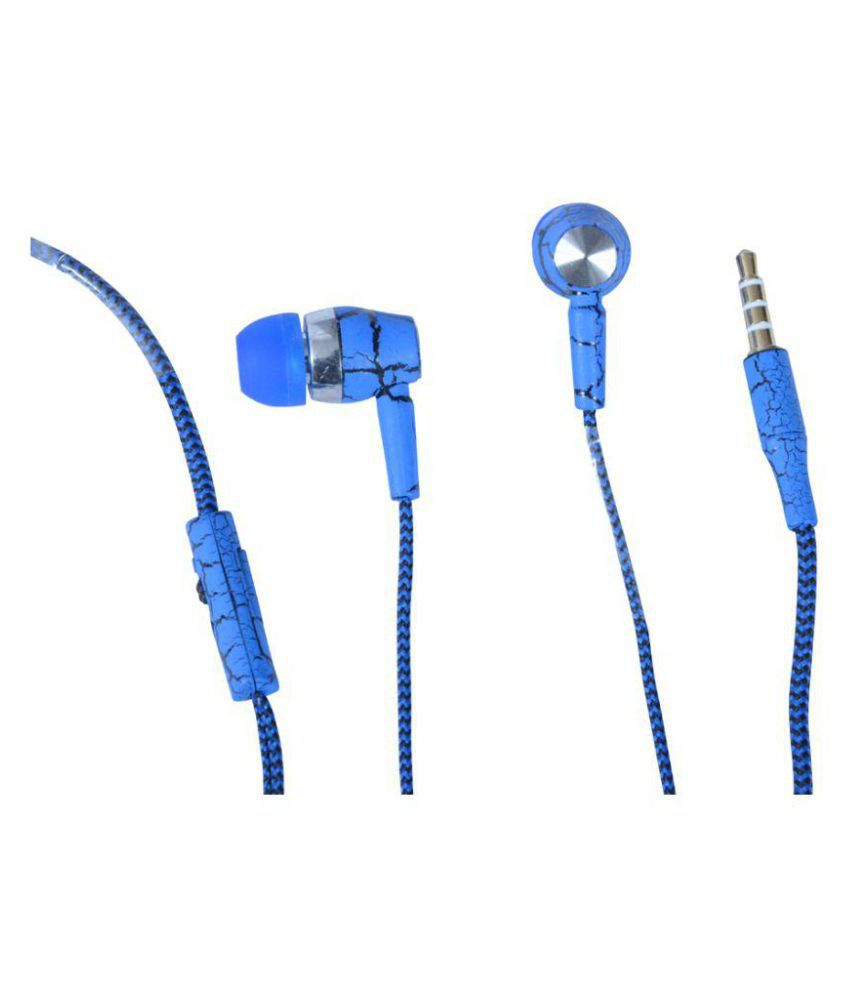 Reliable Zebra Super Sound Handsfree In Ear Wired Earphones With Mic Blue