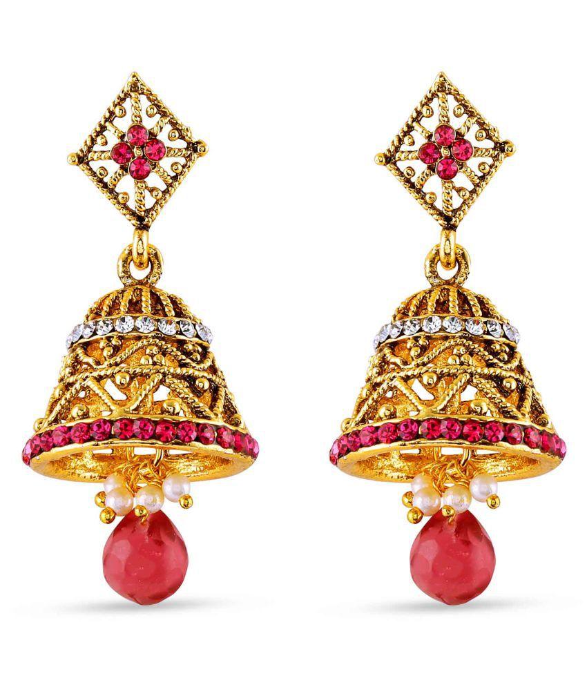 Rich Lady Red Jhumki Earrings