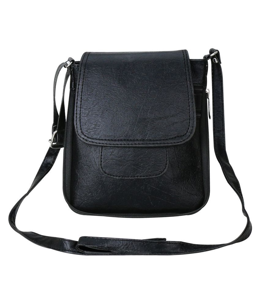 Crude Black Faux Leather Sling Bag