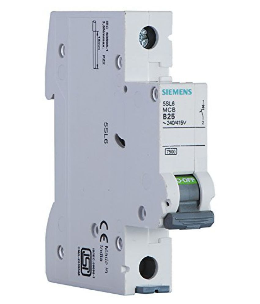 Siemens 6a 1 Pole Miniature Circuit Breaker (white, 1-piece, 5sl61066rc)  available at snapdeal for Rs.190