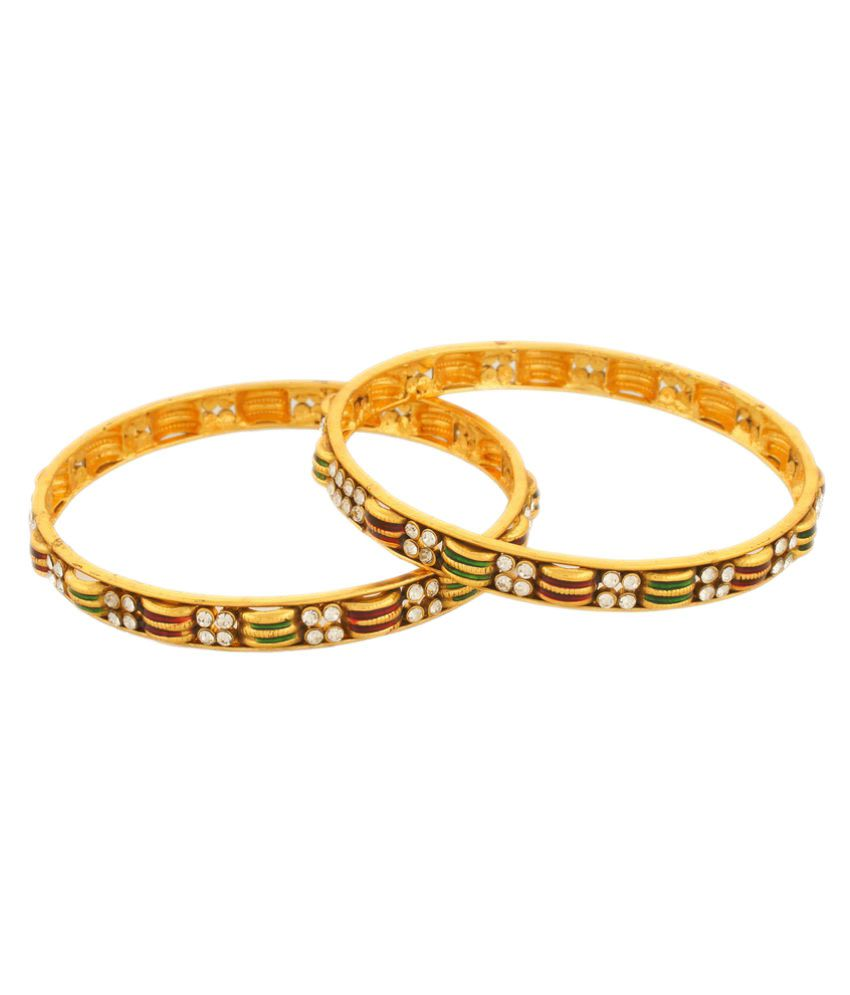 Vama Fashions Unique Royal Indian Traditional Ethnic Stunning Gold Plated Bridal Designer Bangle Kada with Polki/A.D for Girls & Women.-Size-2.8