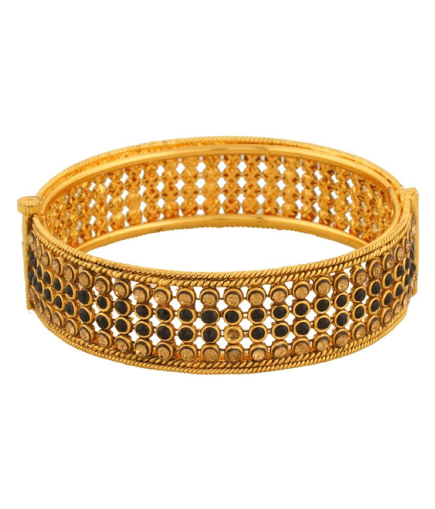 Vama Fashions Unique Royal Indian Traditional Ethnic Stunning Gold Plated Bridal Designer Bangle Kada with Polki/A.D for Girls & Women.-Size-2.4