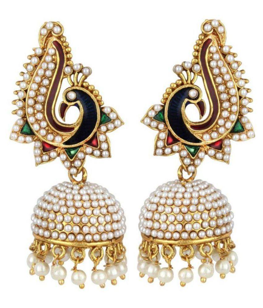 Jewels Gold Multicolour Jhumki Earrings