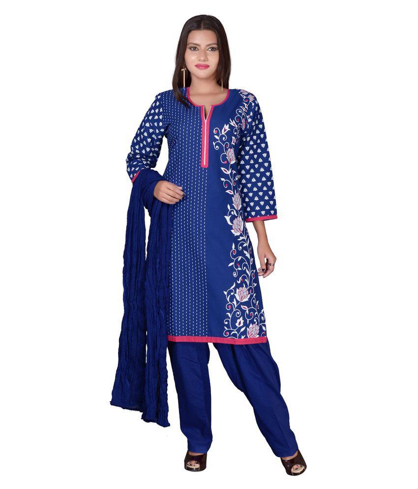 Lamizor Blue Cotton Straight Stitched Suit
