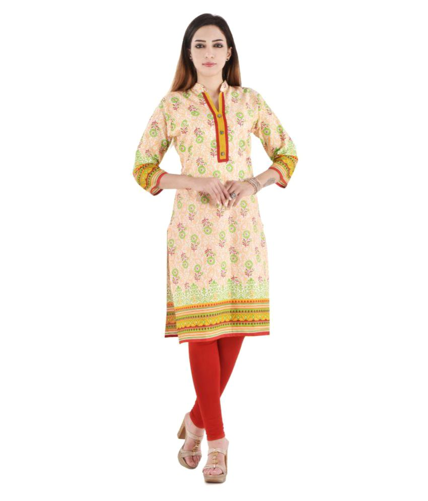V.O Couture Orange Rayon Straight Kurti