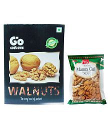 GO Organic Kashmiri Walnuts 1 Kg & Regular Almond (Badam) 250 Gm Pack Of 2