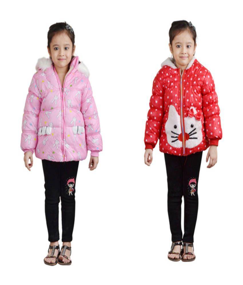 Crazeis Multicolour Nylon Jackets for Girls - Combo of 2