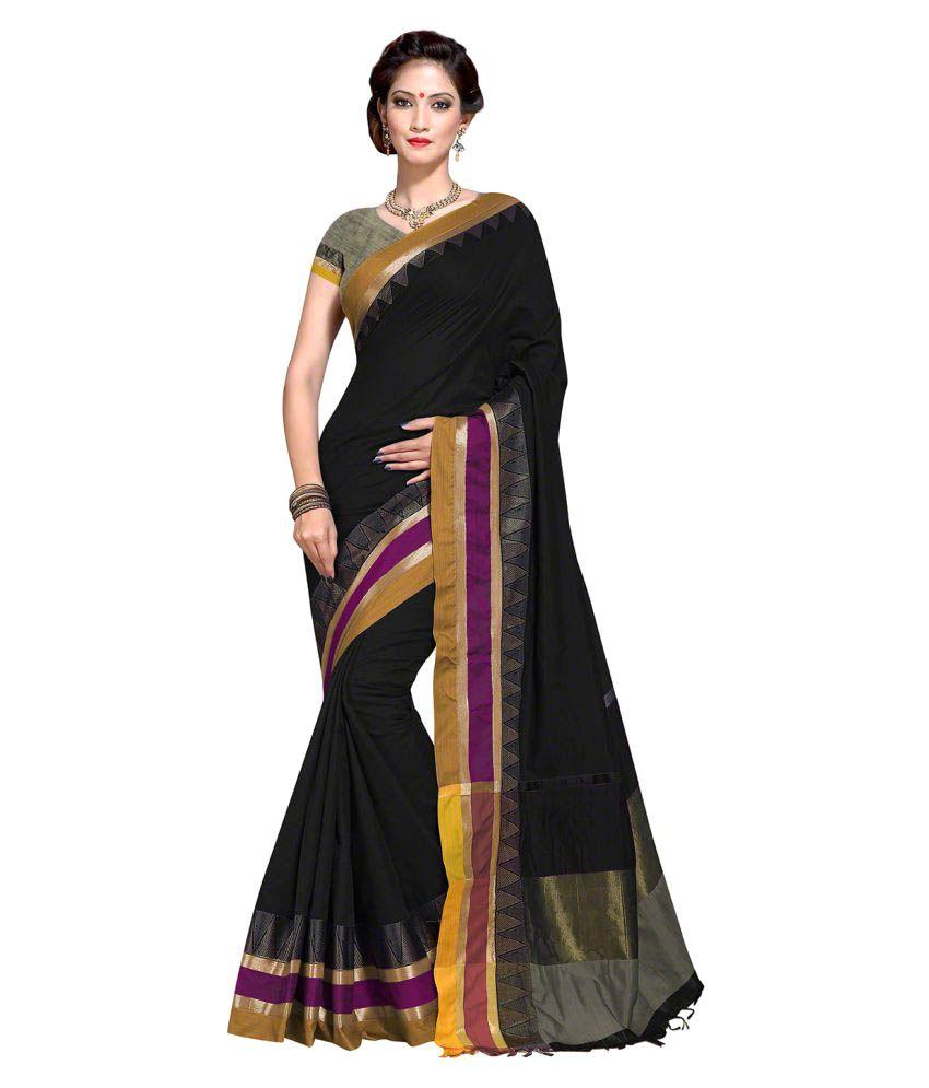 Roop Kashish Black Cotton Blend Saree