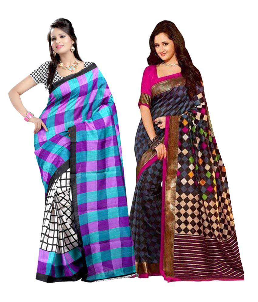Sudev Multicoloured Satin Saree Combos