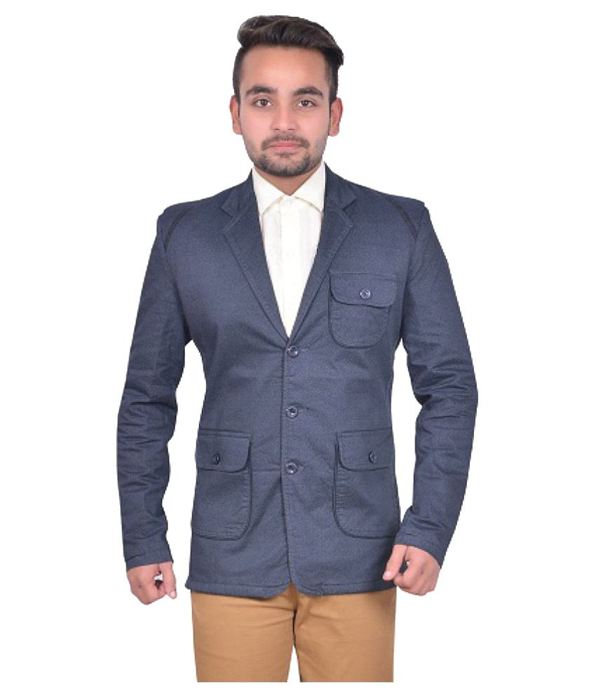 GDS Blue Solid Casual Blazers