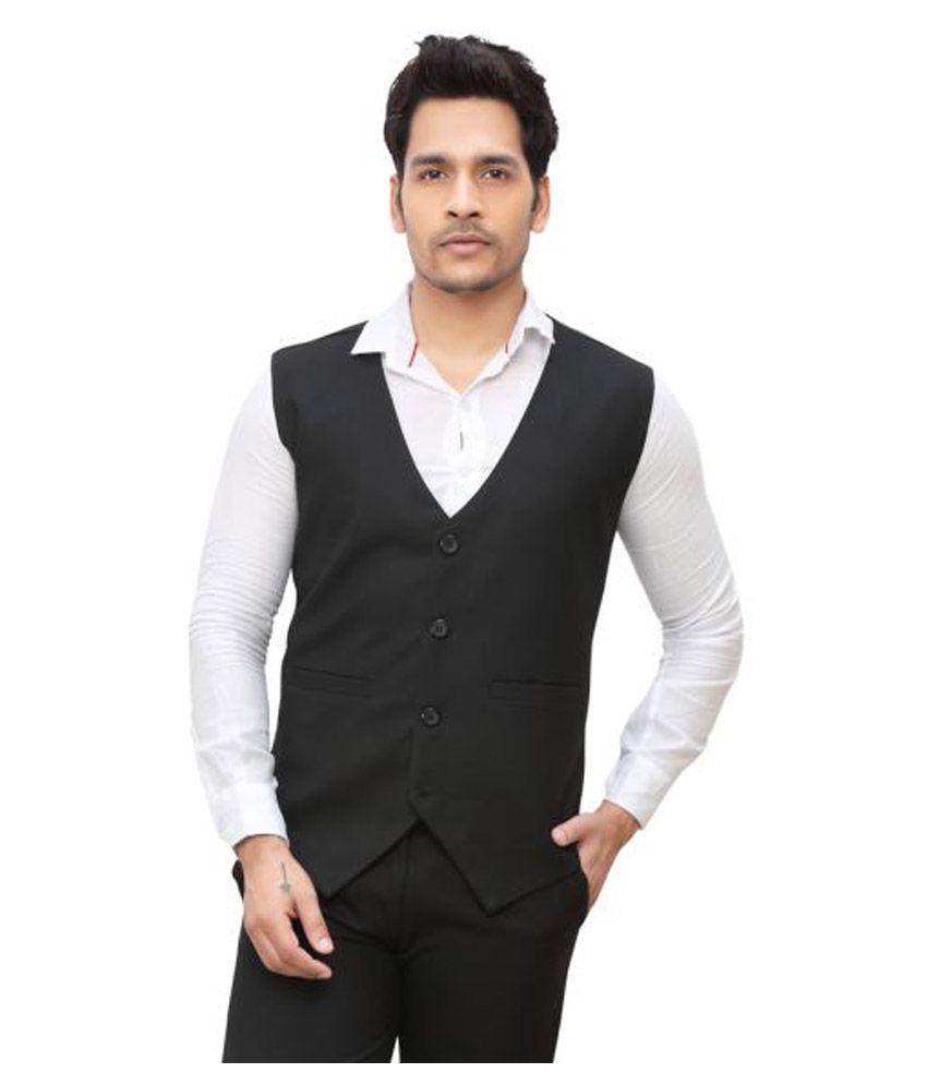 NU ABC Garments Black Plain Formal Waistcoats