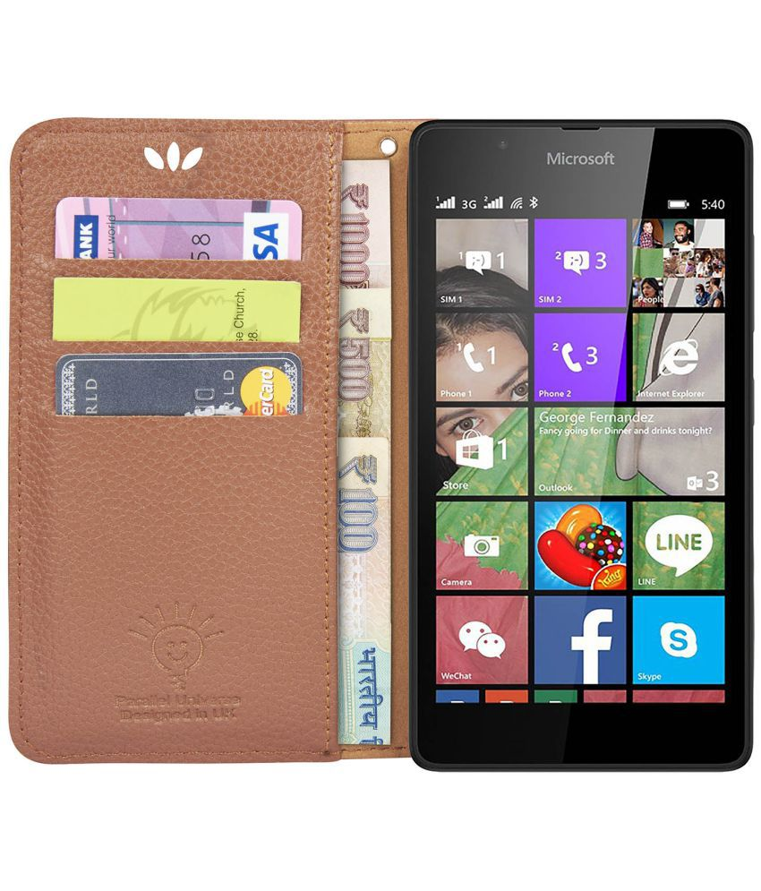 low priced f8f2b e60a8 Nokia Lumia 540 Flip Cover by Parallel Universe - Brown