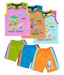 Elk Multicolour Cotton Combo T-shirt Coat With Bottom Set Of 3