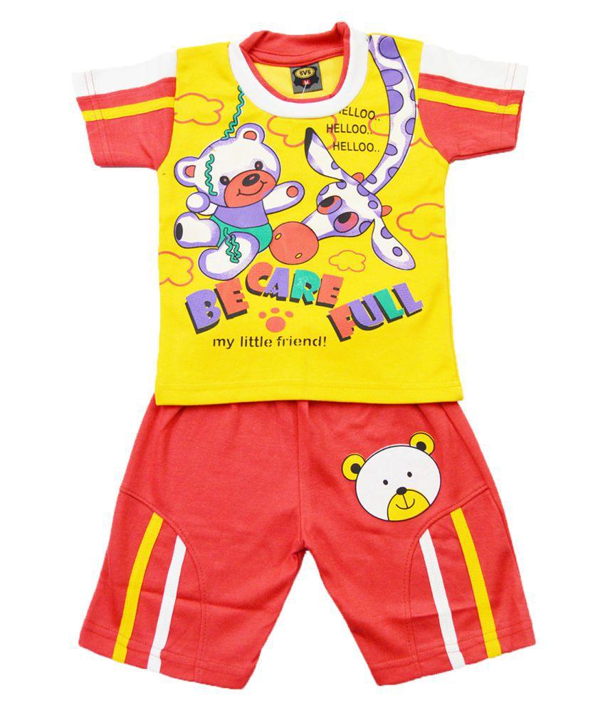 Elk Kids Boys Half Sleeve Cotton Yellow T-shirt Coat With Bottom Set