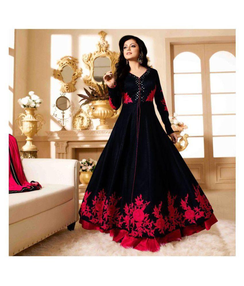Fashion Basket Black Bangalore Silk Anarkali Gown Semi-Stitched Suit ...