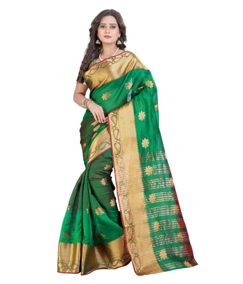 Bindani Studio Green Banarasi Silk Saree