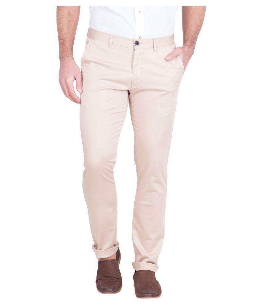 Red Tape Beige Slim Flat Trousers