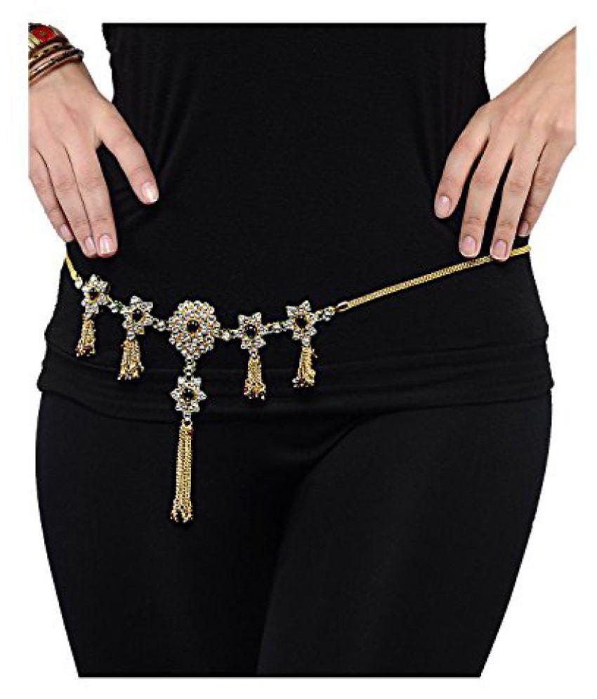 Shining Diva Kundan Floral Waist Chain Kamarband For Women