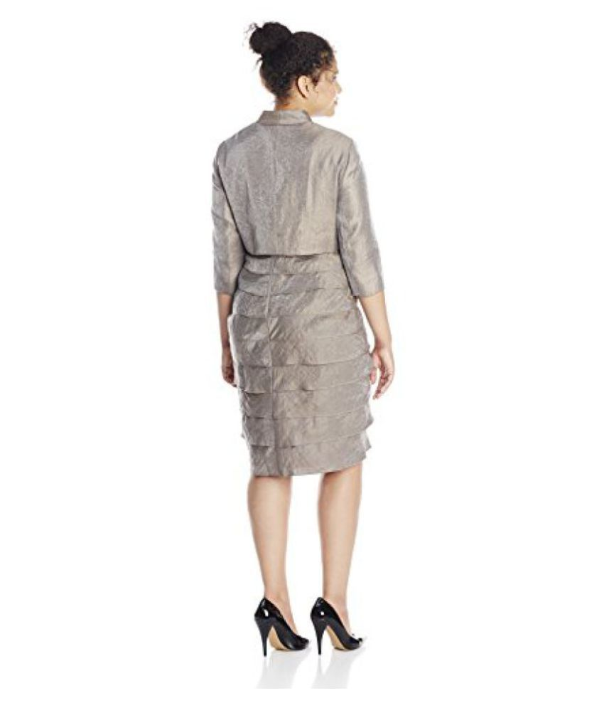 6b213adc9fd ... Adrianna Papell Womens Plus-Size Sleeveless Shutter Pleat Shimmer Dress  with Bolero Jacket ...
