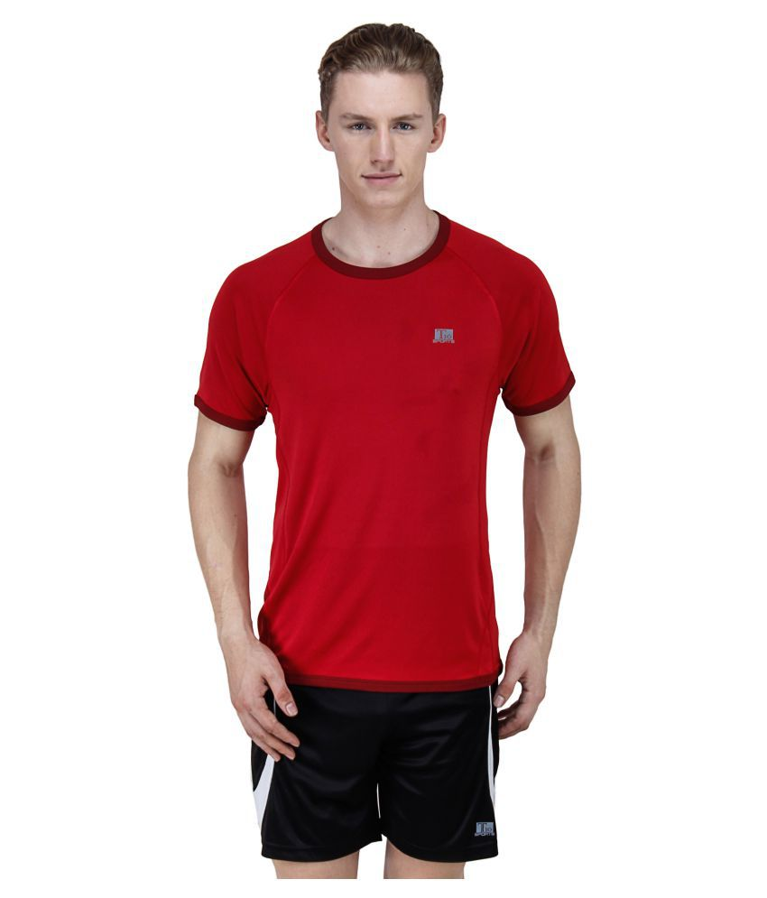 T10 Sports Red Cotton Lycra T-Shirt